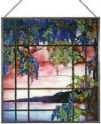 Vintage MMA Tiffany Stained Art Glass View of Oyster Bay Panel Pewter Frame