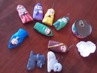 Vintage Nativity Hand Painted Ceramic Christmas Ornaments Lot of 10 Incomplete