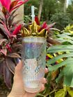Starbucks 2021 Valentines Day Symphony Gold Crown 15oz Glass Straw Cup Tumbler