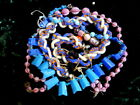 Collection of Vtg Rare Glass Beads Satin Pink Melon  Fancy Pressed Blue Glass