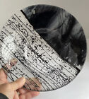 Studio Fused Art Glass Black On Clear Swirl Bowl Dish Controlled Bubbles Signed