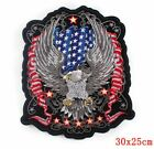 Large Biker Patch Flag Iron On Embroidered Silver Eagle Jacket Applique 12