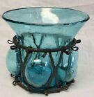 Vintage Aqua Blue Caged Imprisoned Bubble Hand Blown Glass Metal Vase Votive