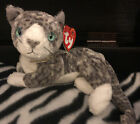 Ty Original Beanie Baby Purr The Grey And White Cat Kitten 2000 Retired Blue Eye