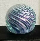 Art Glass Paperweight Ornamental Blown Glass Iridescent Swirl Signed OBG Vintage