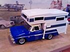 124 Scale Diecast 2 pc setBlue 1966 Chevy C 10 Pickup Truck with Camper body