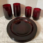 Vtg 9 Arcoroc France Ruby Red Glass Salad Plates Tumbler  Juice Glasses