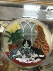 Peggy Karr Art Glass Signed Window Cats 11 Tray Plate