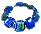 DICHROIC Glass Link Bracelet Silver Blue Green Teal Striped Texture 3 4 X 75