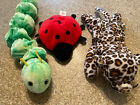 Beanie Baby Lot of 3 Squirmy Worm, Lucky Ladybug, Freckles Leopard