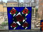 Jens Glassworks Stained Glass Panel Handmade Hibiscus  17 X 17