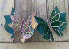 Set 2 Butterfly 3D Handmade Stained Glass Sun Catcher 5X 6 Inches