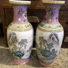 PAIR CHINESE FAMILLE ROSE ENAMELED PORCELAIN VASES HAND PAINTED 11 3 4