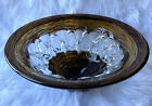 Brown copper clear Art Glass Large Centerpiece Bowl 15 Widest 6 High