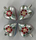 Set 4 Vintage Glass Heart Hand Painted Ornaments From Poland