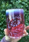 Vintage Fenton Art Glass Cranberry Opalescent Daisy and Fern Pattern Tumbler