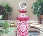 Vintage Val St Lambert Cranberry Pink Cut to Clear Perfume Cologne Bottle