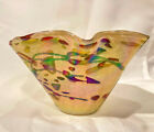 Studio Art Glass Iridescent Hand Blown Bowl Great Colors