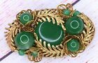 Gorgeous Vintage Miriam Haskell Green Glass Gold Tone Leaf Pin Brooch