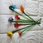 Lot of 7 Vintage Hand Blown Art Glass Long Stem Flowers Colorful Bouquet Murano