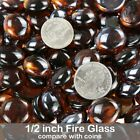 1 2 Round Fire Glass Rocks for Natural Propane Fireplace Fire Pit 10 50 Pounds