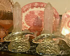 ANTIQUE VINTAGE 1930S 2 ART DECO GLASS FISH TABLE LAMPS WITH BULLET GLOBES WOW