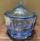 Vintage Indiana Glass Concord Pastel Blue Octagon Covered Candy Dish