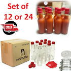 Hot Sauce Clear Glass Case Of 12 24 Bottles Empty Red Caps Shrink Bands 5 Oz