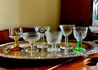 Vintage Champagne Coupe Collection Etched Cut Glass Stemware Toasting Barware 6