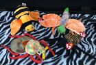 Ty Original Beanie Babies Bugs Set 4 Spinner Glow Buzzie Scurry Bee Spider