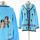 Womens L Story Book Knits Native American Design Sweater Set Top  Cardigan