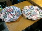 Vintage Pair Decorative Glass Octagonal Plates On Material VERY UNUSUAL Hanging