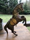 Vintage Leather Wrapped Horse Figurine Statue Glass Eyes Equestrian Decor 145T