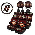 Tribal Vintage Car Seat Covers With Seat Belt 9pcsauto Accessory Full Set Decor