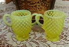 Vintage Fenton Hobnail Small Vaseline Glass Cream and Sugar Set Opalescent