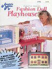 Fashion Doll Playhouse  Accessories fit Barbie plastic canvas pattern book NEW