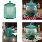 Turquoise Pressed Glass Vintage Cookie Jar With Lid And Pearlized Luster Finish