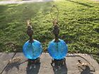 PAIR OF VINTAGE MID CENTURY LARGE BLUE GLASS LAMPS EMBOSSED GRAPES LEAVES WORKS