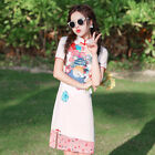 Spring Summer Dress Women Mini Cheongsam Pink Party Qipao Chinese Size S to 2XL