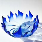 Mid century Vtg Blue Flamed Splash Murano Glass 1960s Bowl Centre Piece Large