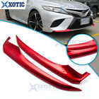 For Toyota Camry 2018 2019 Glossy Red Front Bumper Lip Corner Strip Cover Trim
