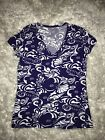 Lilly Pulitzer M T Shirt Tide Pools Michelle Blue Nautilus Shell Seahorse V Neck