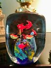 VINTAGE MURANO ITALIAN ART GLASS FISH AQUARIUM PAPERWEIGHT 8 FISHES