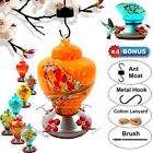 9 Hummingbird Feeders Outdoor Hanging Glass Art Garden Decoration