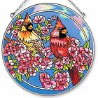 Amia Handpainted Glass Cardinals in The Pink Round Cardinal Suncatcher 65