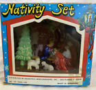 Vintage Mid Century Nativity Set In Box Plastic Glitter Hong Kong