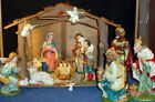 1940s VINTAGE WALES NATIVITY HAND PAINTED COMPOSITION FIGURES W MANGER JAPAN