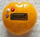 Mad Art Yellow Heart Smile Glass Paperweight
