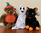 Halloween Ty Beanie Babies Lot of 3, Fraidy, Sheets and Peter MWMT Ghost Cat