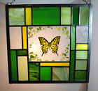 Stained Glass Window Panel butterfly green yellow spring